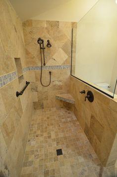 Beautiful Bathroom Design Ideas Using Doorless Shower: Doorless Shower  Design With Grab Bars Shower Seat And Soap Ledge
