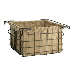 Instead of paying $49, thrift freezer baskets or old gym locker baskets and make burlap lining. . . .