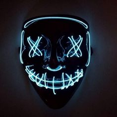 Rave Halloween LED mask, Purge mask, Rave Halloween costume part Rave Halloween Costumes, Halloween Masks, Dj Party, Mask Party, Face Tattoos For Women, Halloween Led Lights, Purge Mask, Light Up Costumes, Jewel Tattoo