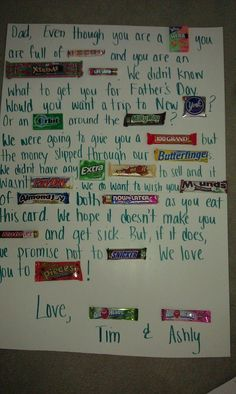 Easy Christmas Gifts to Make for Family – Candy Poster Diy Father's Day Gifts, Father's Day Diy, Gifts For Dad, Homemade Dad Gifts, Good Fathers Day Gifts, Easy Gifts, Candy Poster Board, Candy Bar Posters, Candy Bar Cards