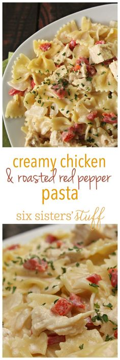 Creamy Chicken and Roasted Red Pepper Pasta - Rezepte nudeln Pepper Pasta Recipe, Roasted Red Pepper Pasta, Roasted Red Peppers, Pasta Recipes, Chicken Recipes, Cooking Recipes, Healthy Recipes, Kraft Recipes, Casserole Recipes