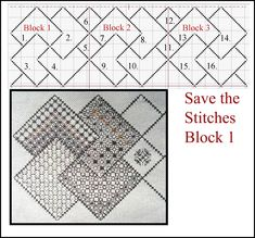 """""""Save the Stitches"""" Free Blackwork Project The framework for the first 3 blocks www.blackworkjourney.co.uk"""