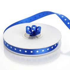 "25 Yards 3/8"" Royal Blue Grosgrain Polka Dot Satin Ribbon Royal Blue Wedding Decorations, Blue Tablecloth, Chevron Ribbon, Chair Sashes, Satin Material, Box Cake, Jewel Tones, Satin Fabric, Grosgrain"
