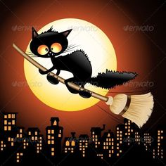 Buy Halloween Black Cat Cartoon Flying on Witch Broom by Bluedarkat on GraphicRiver. Funny Halloween Cat Flying with a Witch Broom. Halloween Chat Noir, Animé Halloween, Halloween Painting, Halloween Illustration, Black Cat Art, Cute Black Cats, Moon Cartoon, Black Cartoon, Flying Cat