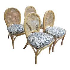 Vintage Mid Century Modern Rattan Dining Chairs - Set of 4 Bamboo Dining Chairs, Dining Chair Set, Dining Room, Chair Backs, Modern Materials, Home Furniture, Mid-century Modern, Cushions, Mid Century