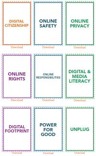 Excellent Free Downloadable Digital Citizenship Cards for your Class ~ along with some lesson ideas