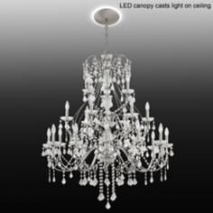"""Vienna Full Spectrum 41""""W Crystal Chandelier with LED Canopy"""