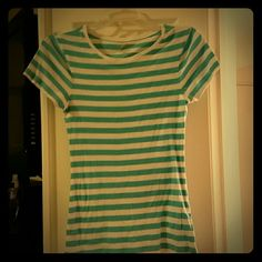 Perfect tee Old Navy crew neck perfect tee. Teal and white stripes. Old Navy Tops Tees - Short Sleeve