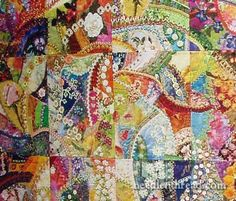 This crazy quilt is so gorgeous ~ the website lists a great book on crazy quilts ~