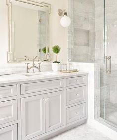 Greek Key Mirror with Light Gray Washstand