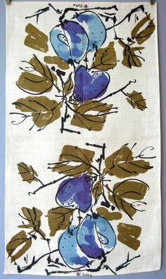 Vintage Vera Neumann Linen Towel Purple Blue Pears by luola