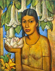 forma es vacío, vacío es forma: Alfredo Ramos Martínez - pintura. La India de los Floripondios - 1932