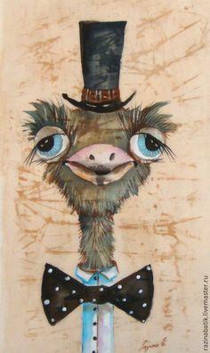 Купить Сэр Страус ( батик панно) - бежевый, Страус, картина, Батик, птица, ткань