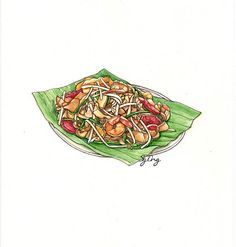 food illustration fried kuey teow  by Ong Siew Guet