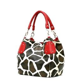 Giraffe print with red accents; LOVE