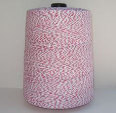 4 ply Pink and White Bakers Twine!!  3400 yards!! Lifetime supply!!  They have many more colors for only $9.95 a cone!  Can't beat that.