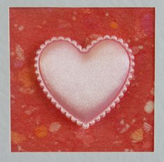 I Love You Card, blank, anniversary, birthday, wedding, engagement, pale pink heart on red, contemporary, modern, with lilac envelope by CardArtSmart on Etsy