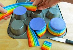 -RainbowFondantCups- we can do the same for bigger cake and decorate it with clouds