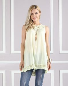 #AdoreWe #VIPme Blouses & Shirts❤️Designer Suzanne Betro Yellow Lace-Accent Yoke Tank - Plus Too - AdoreWe.com