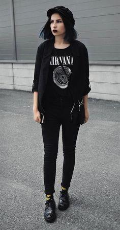Hat with black jacket, Nirvana graphic printed tee, black pants & faux leather shoes by merakilex - #fashion #grunge #alternative