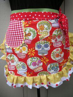 Half Apron with Glitter Skull Fabric