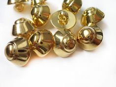 10 Pcs Round Gold Metal Covered Shiny Buttons  by StarButtons, $5.00