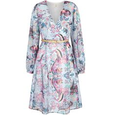 Uttam Boutique Paisley Print Long Sleeve Wrap Dress ($90) ❤ liked on Polyvore featuring dresses, blue, clearance, long sleeve midi dress, v neck wrap dress, blue wrap dress, v neck dress and long dresses