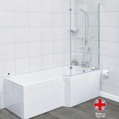 Synergy 1500 x 800 Right Hand L Shape Shower Bath and Return Screen Walk In Shower Bath, Bathtub Shower, Shower Enclosure, Glass Shower, Straight Baths, L Shaped Bath, Square Bath, Steel Bath, Screen Enclosures