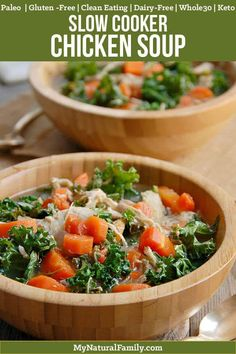 Nourishing Crock Pot Paleo Chicken Soup Recipe plus over 700 more Paleo dinner recipes Chicken Kale Soup, Chicken Soup Slow Cooker, Chicken Soup Recipes, Keto Chicken, Healthy Chicken, Clean Chicken, Chicken Avacado, Vegetarian Chicken, Chipotle Chicken
