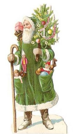 Santa in green Happy Christmas Day, Irish Christmas, Christmas Hearts, Christmas Scenes, Christmas Past, Father Christmas, Green Christmas, Christmas Colors, Christmas Decorations