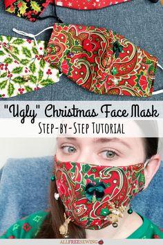 DIY Ugly Christmas Face Masks [Printable Templates] Tacky Christmas Party, Christmas Tree Ugly Sweater, Christmas Sewing, Christmas Crafts, Xmas, Diy Mask, Diy Face Mask, Face Masks, Sewing Patterns Free