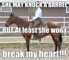this is sooo true a horse will never break your heart even if they do knock over a barrel