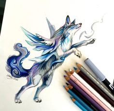 18- Air by Lucky978 on DeviantArt. This work drew my attention both for subject matter and color technique. The concept of an air elemented wolf is interesting and it was well executed. The artist's ability to convey such smooth and dynamic colors with just pencils and pen is even more remarkable.