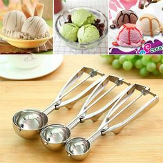 WOFO 4cm-5cm-6cm Stainless Steel Ice Cream Spoon Ice Cream Spoon Fruit Spoon Spring Spoon Handle Kitchen Accessories (Pack of 3)