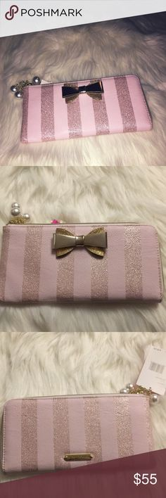 Betsey Johnson pink gold wallet with pearls Brand new with tags by Betsey Johnson wallet/ clutch Betsey Johnson Bags Clutches & Wristlets