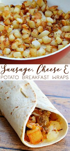 SO GOOD! And easy too. Get your morning off to a great start with these Sausage, Cheese & Potato Breakfast Wraps. A simple and easy recipe for the busy, morning rush of school mornings. #recipe #breakfast #wraps #breakfastwrap #breakfastrecipe #easybreakfast