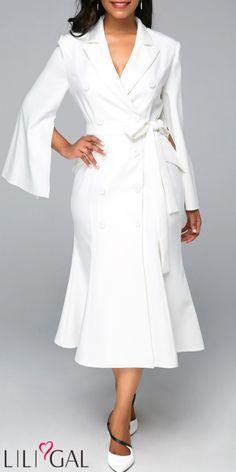 6341cb51c3 USD42.00 White Button Detail Belted Slit Sleeve Midi Dress  liligal  dresses