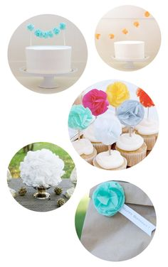 Pretty pompoms for cupcakes or garland