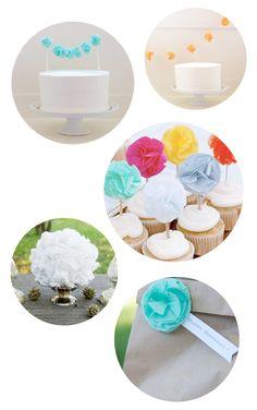 paper tissue pom poms as cake decor. Yes please.