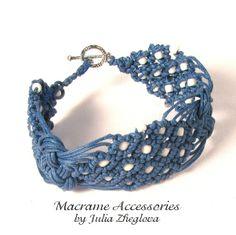 """Macrame Blue Beaded Bracelet """"Sea Foam"""" from Macrame Accessories by Julia Zheglova by DaWanda.com"""