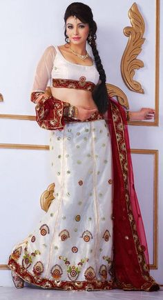 $45.09 White Embroidered with Sequins Work Net Wedding Chaniya Choli 25818