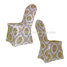 Weddings Catering Lycra Bronzing Gold Metallic Spandex Chair Covers