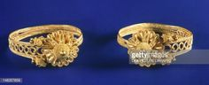 Fine art : Gold earrings from Sindos (Greece), Goldsmith art, Greek Civilization, late 6th Century BC