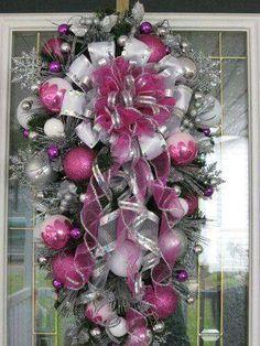 Christmas DIY: Pink and Silver Tear Pink and Silver Teardrop Christmas Wreath Christmas Swags, Christmas Door, Pink Christmas, Deco Mesh Wreaths, Holiday Wreaths, Holiday Crafts, Christmas Holidays, Winter Wreaths, Christmas Island