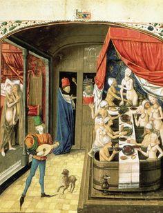 Luxuries: A Bathhouse in Valerius Maximus' Facta et Dicta Memorabilia (fol. 244), c. 1470, tempera and gold leaf on parchment. Staatsbibliothek zu Berlin--Preussischer Kulturbesitz (Depot Breslau 2)