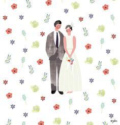 yebin on Grafolio Wedding Illustration, Couple Illustration, Graphic Illustration, Wedding Drawing, Wedding Painting, Diy Wedding Video, Wedding Posters, Illustrations And Posters, Card Tags