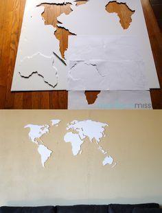 DIY world map wall art made with foam board.