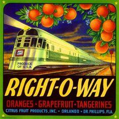 10X10 Orlando Right O Way Florida Train Orange Citrus Fruit Crate Label Art Print | eBay
