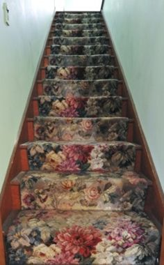 Floral stair runner. Looks like the stairs to my Aunt Eunice's attic...which I loved!  You have to learn to love old things...somewhere.