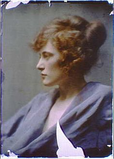 Woman,red hair wearing blue robe,gown,color autochromes,portrait. Arnold Genthe.1906.